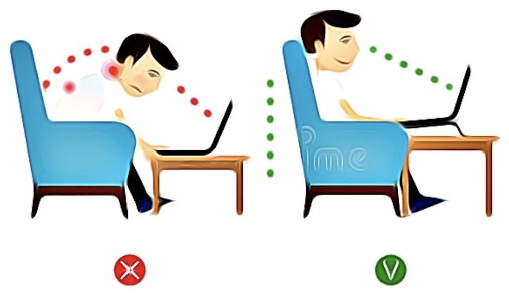 keep correct posture at laptop